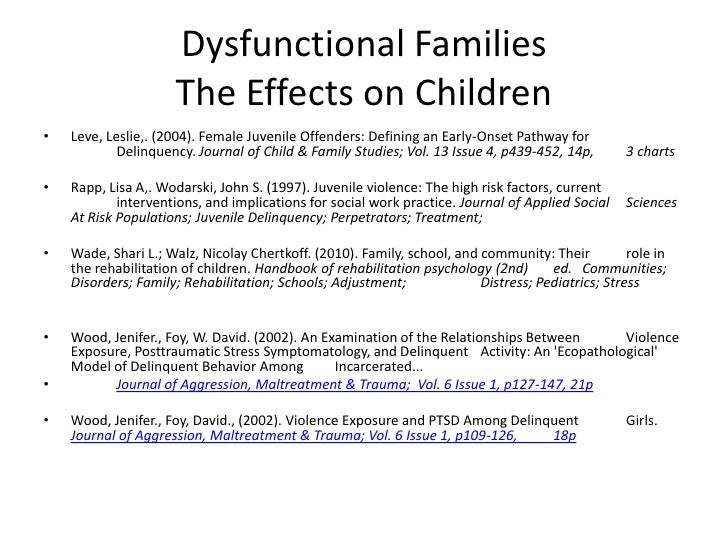 effects of dysfunctional families on children