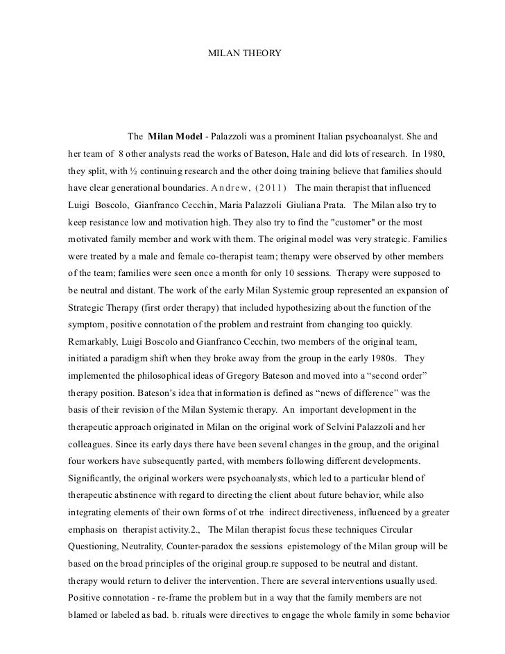 MILAN THEORY               The Milan Model - Palazzoli was a prominent Italian psychoanalyst. She andher team of 8 other a...