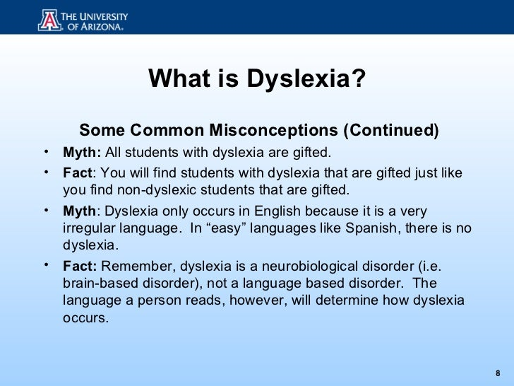 how dyslexia occurs essay Dyslexia occurs in children with all intelligence levels frequently, dyslexics have above average ability the incidence in males and females is approximately equal.