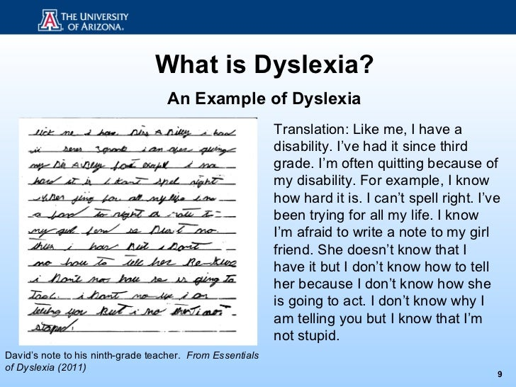 how dyslexia occurs essay - dyslexia dyslexia is a neurological-based, specific learning disability, characterized by language handling deficiencies, impairment in the ability to recognize and translate words into sentences it is said that a reading disability reflects a continuous deficit as opposed to an arrest in development and can occur in a person of any level of.