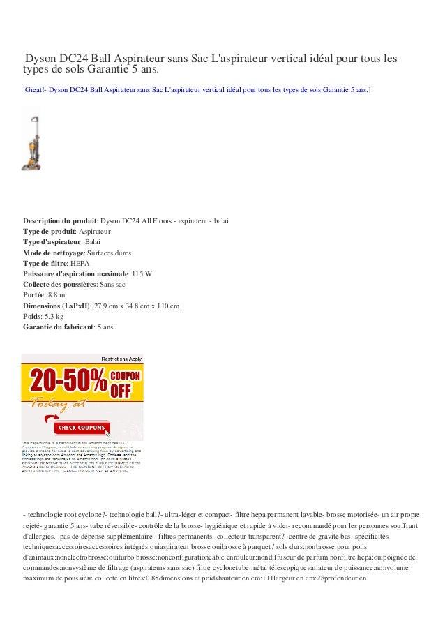 Dyson DC24 Ball Aspirateur sans Sac Laspirateur vertical idéal pour tous lestypes de sols Garantie 5 ans.Great!- Dyson DC2...