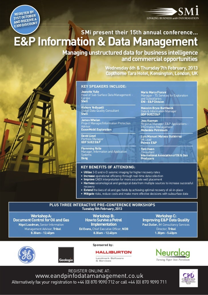 SMi's E&P Information and Data Management