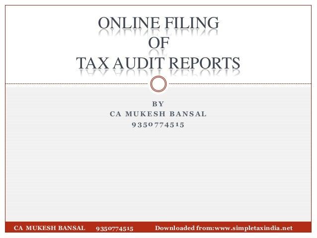E filing of Audit report