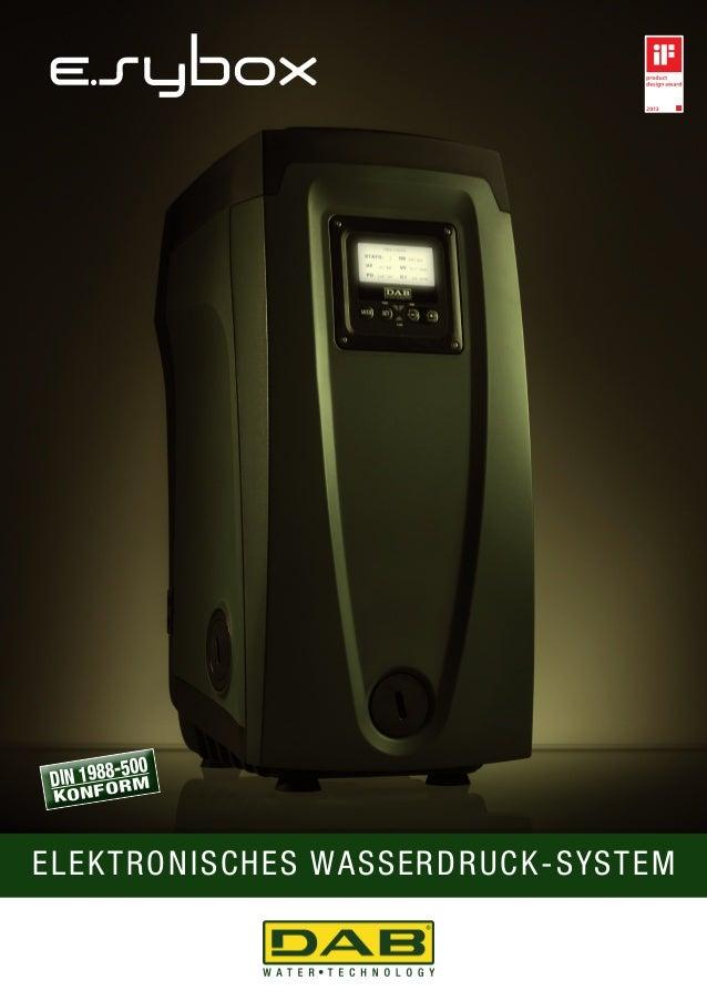 DIN 1988-500  KONFORM  elektronisches Wasserdruck-System