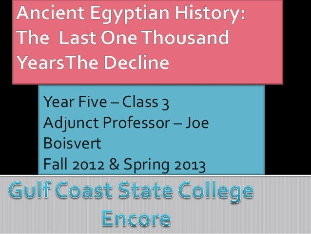 Year Five – Class 3Adjunct Professor – JoeBoisvertFall 2012 & Spring 2013