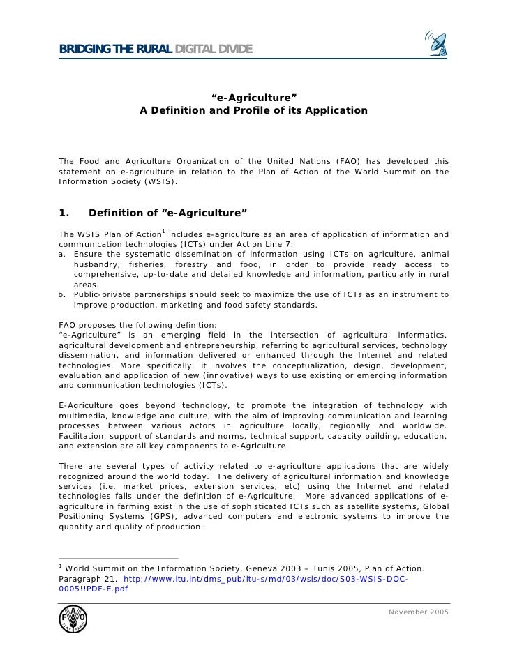 E agriculture - a definition and profile of its application