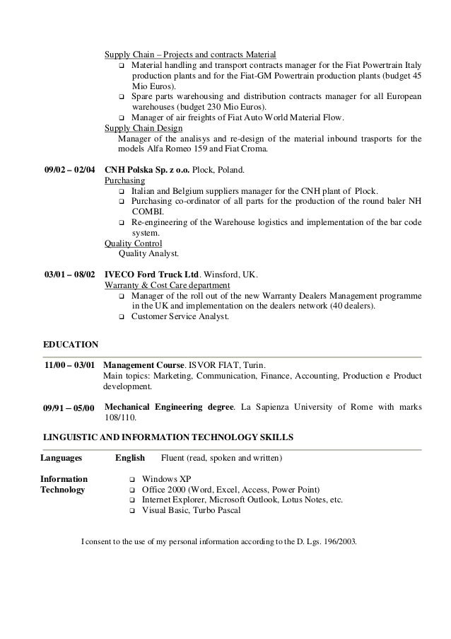 e angelini cv english