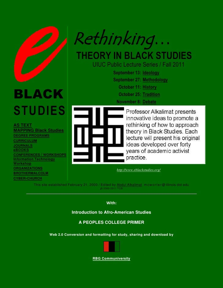 e-Black Studies: Introduction to Afro-American Studies, A PEOPLES COLLEGE PRIMER