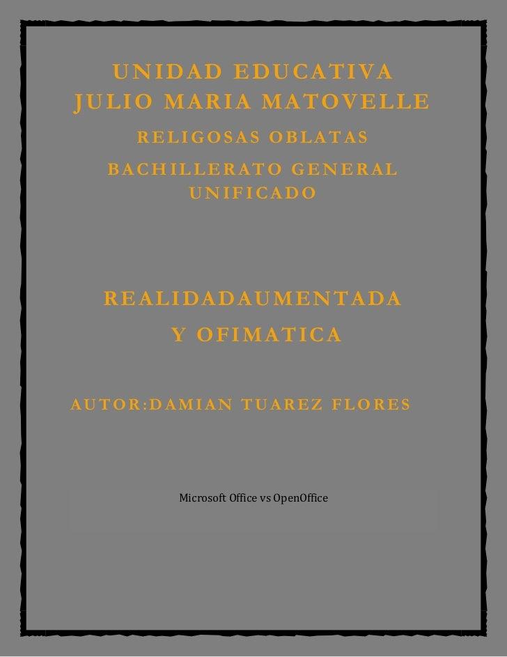 UNIDAD EDUCATIVAJULIO MARIA MATOVELLE     RELIGOSAS OBLATAS  BACHILLERATO GENERAL        UNIFICADO  REALIDADAUMENTADA     ...
