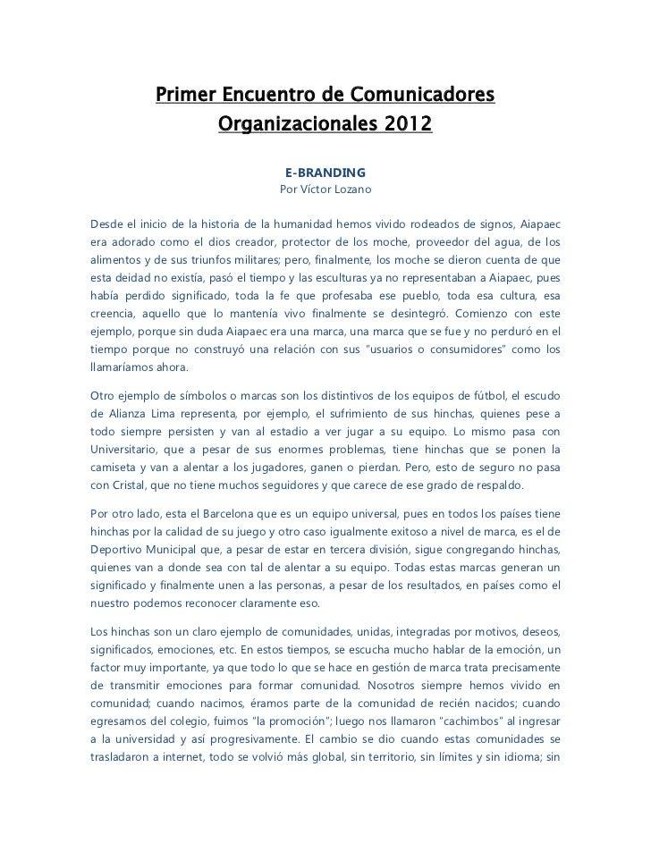 Primer Encuentro de Comunicadores                          Organizacionales 2012                                       E-B...