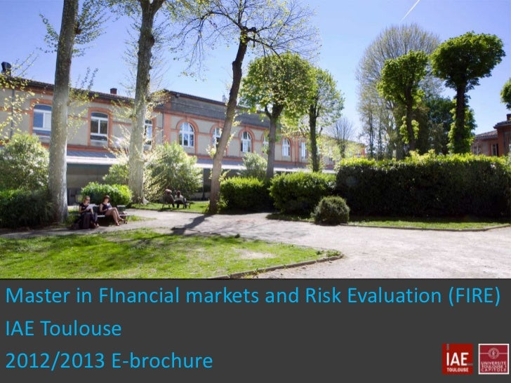 Master in FInancial markets and Risk Evaluation (FIRE)IAE Toulouse2012/2013 E-brochure