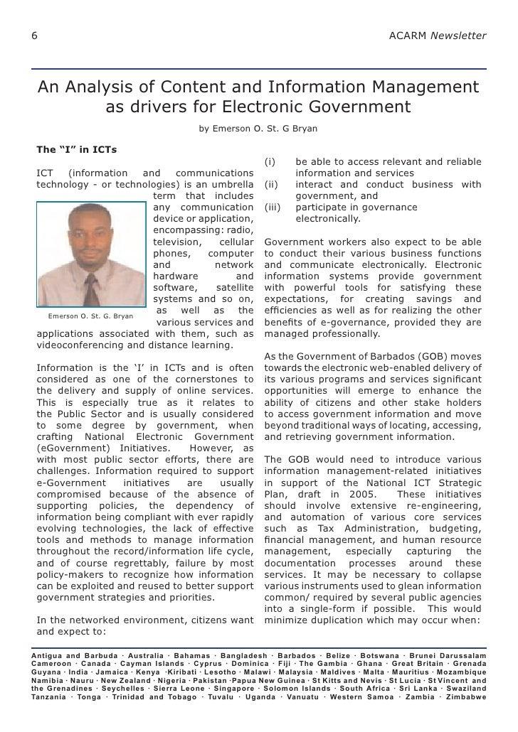 6                                                                                          ACARM Newsletter      An Analys...