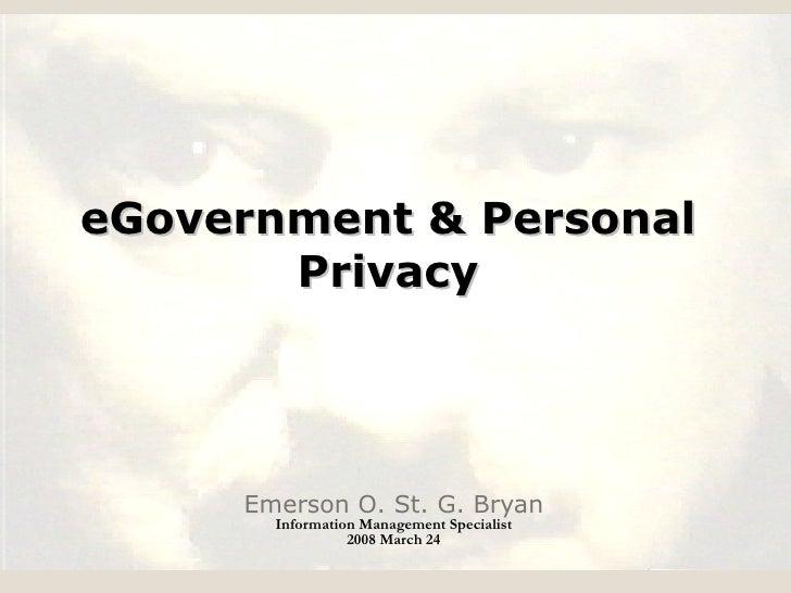 E. Bryan -  E-Governance and Personal Privacy