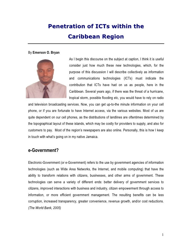 Penetration of ICTs within the                              Caribbean Region  By Emerson O. Bryan                         ...