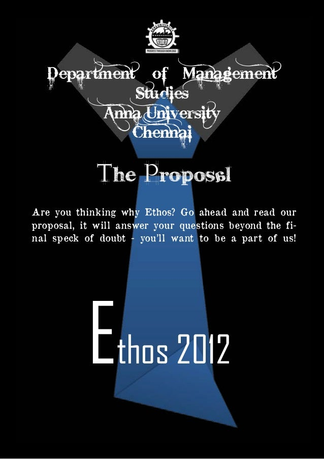 Ethos 2012 Budget | Page 1 Ethos 2012 ' The ProposAL Are you thinking why Ethos? Go ahead and read our proposal, it will a...