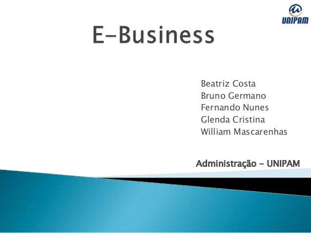 Administração - UNIPAM Beatriz Costa Bruno Germano Fernando Nunes Glenda Cristina William Mascarenhas