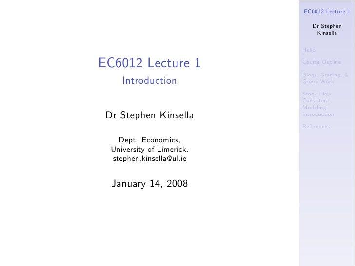 E C6012 2008  Lecture1 Beamer