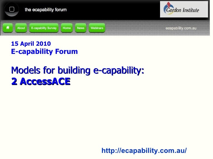 ecapability webinar Thursday 22nd April - ACE Model of ecapability