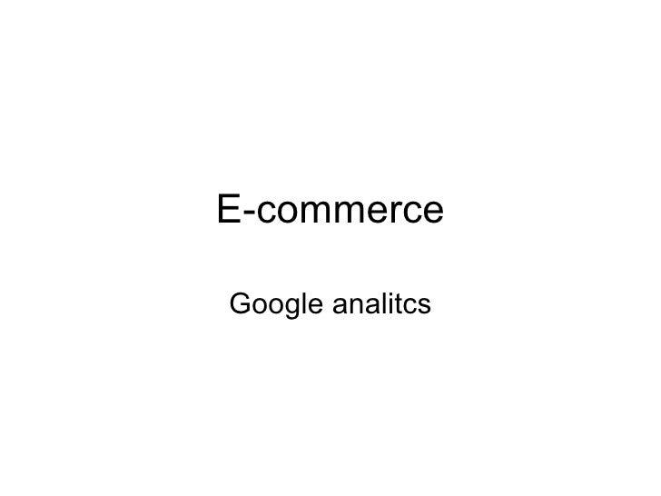 E-commerce Google analitcs