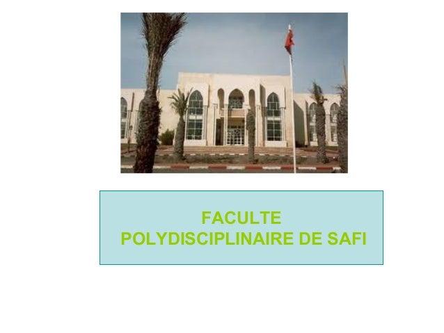 FACULTE POLYDISCIPLINAIRE DE SAFI
