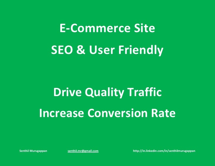 E Commerce Site SEO & User Friendly