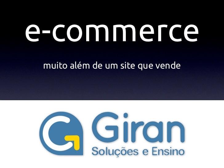 E-commerce Além dos Sites