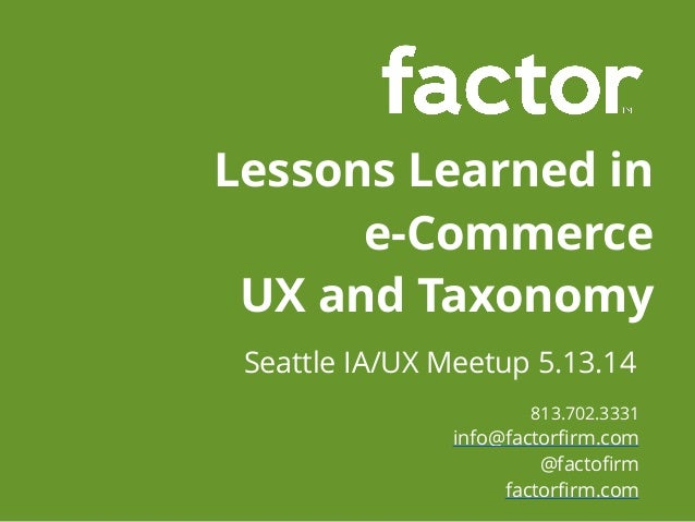 E commerce Lessons Learned - Presented by Factor