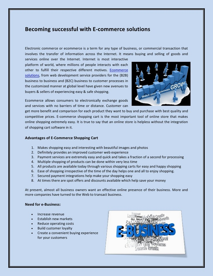 Becoming successful with E-commerce solutions