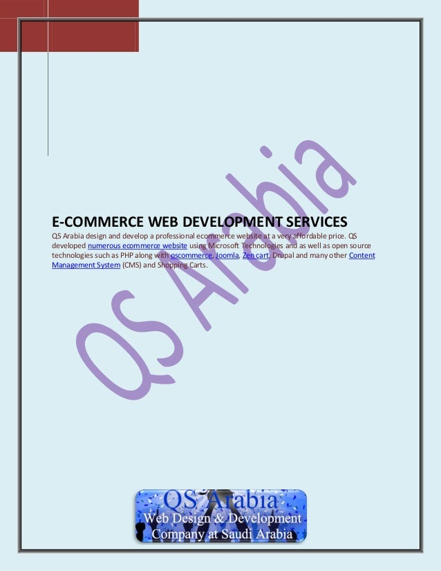 E-COMMERCE WEB DEVELOPMENT SERVICES QS Arabia design and develop a professional ecommerce website at a very affordable pri...