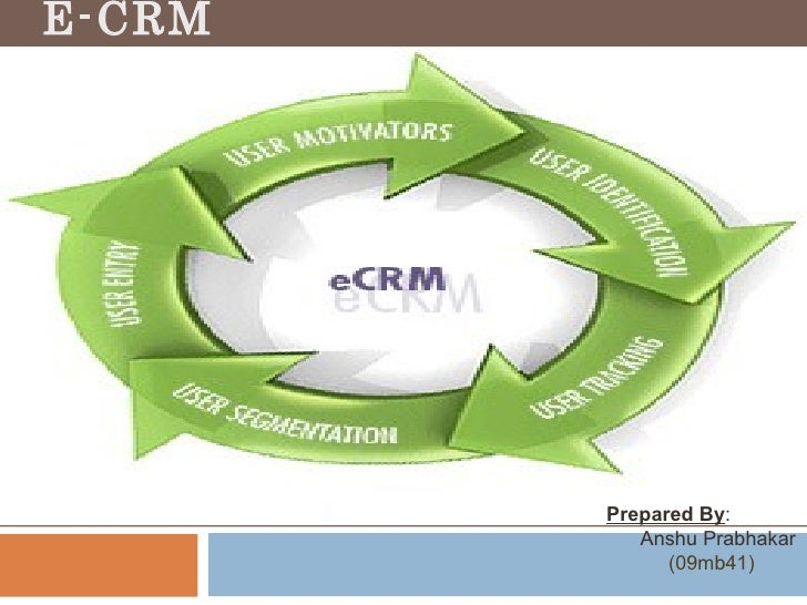 E-CRM Prepared By : Anshu Prabhakar (09mb41)