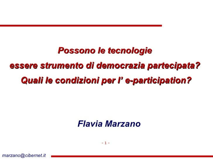 Seminario e-Democracy - Flavia Marzano 07 Marzo 2007