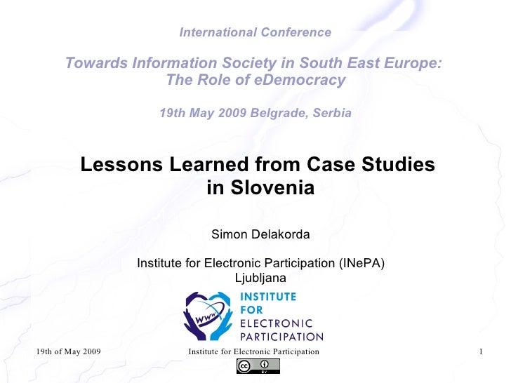 E-Democracy Lessons Slovenia Delakorda