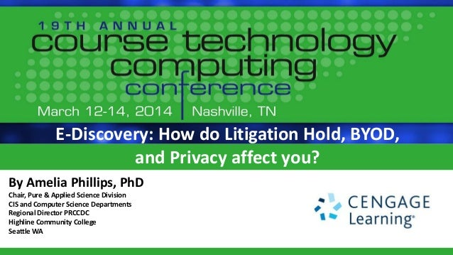 E-Discovery: How do Litigation Hold, BYOD, and Privacy affect you? By Amelia Phillips, PhD Chair, Pure & Applied Science D...