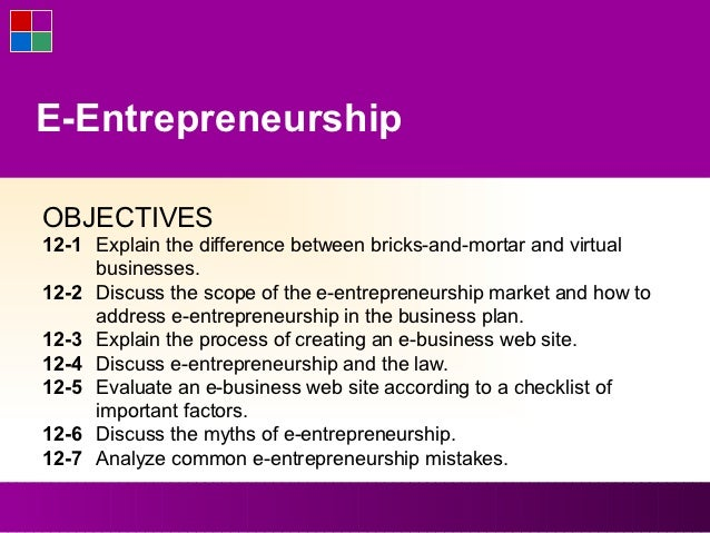 E-EntrepreneurshipOBJECTIVES12-1 Explain the difference between bricks-and-mortar and virtual     businesses.12-2 Discuss ...