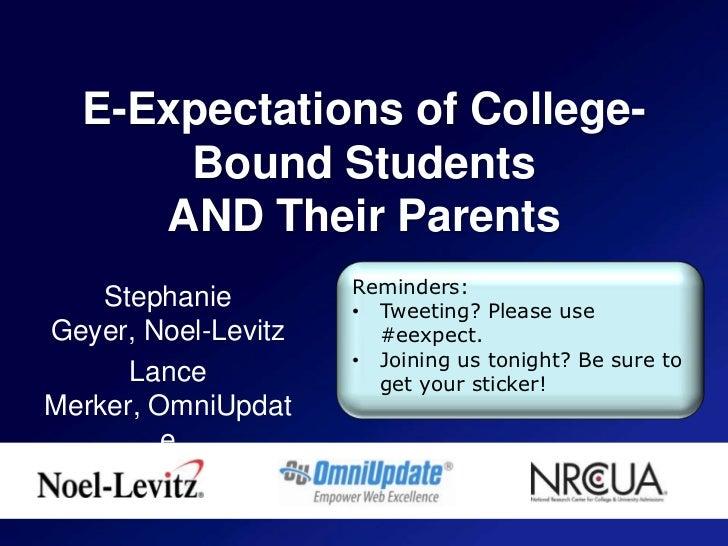 E expectations for edu web 2011