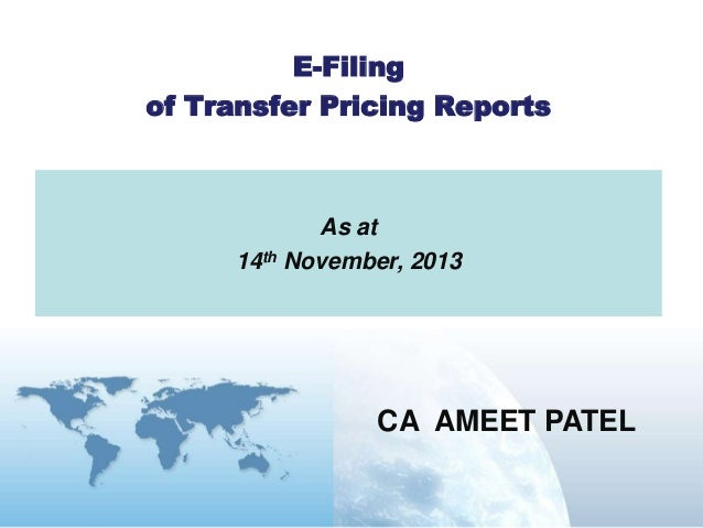 E filing of transfer pricing reports