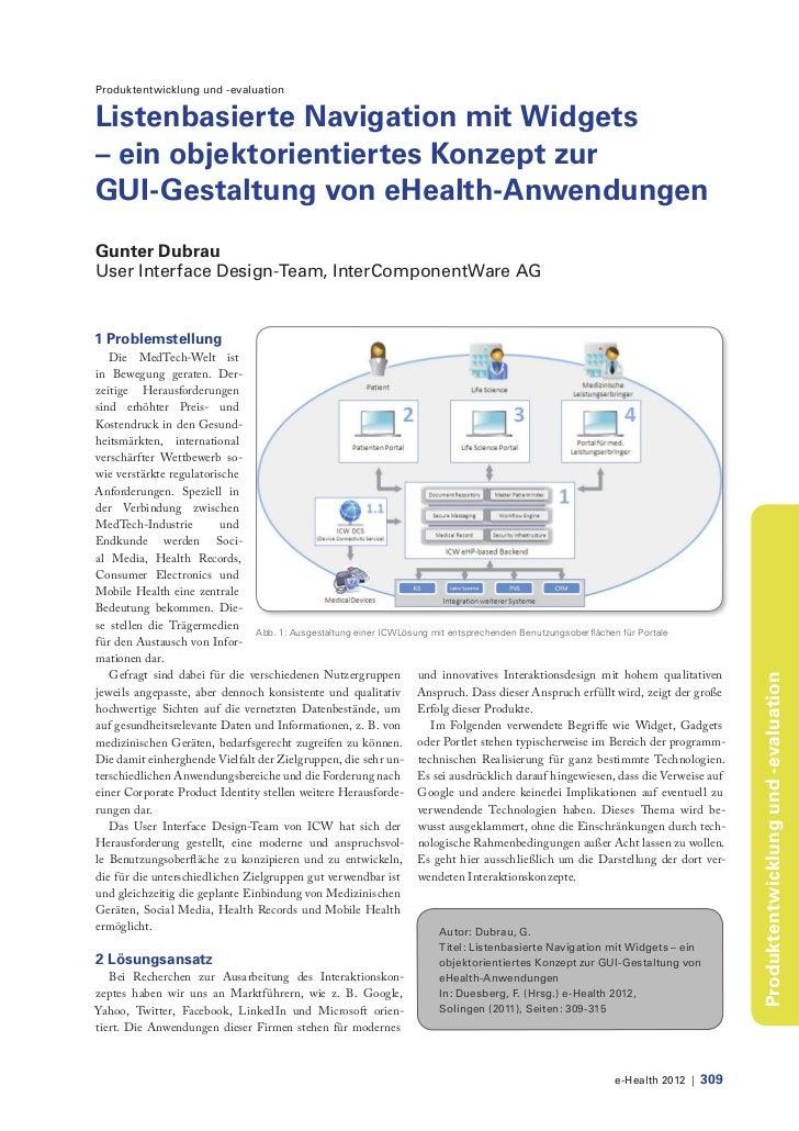 Produktentwicklung und -evaluationListenbasierte Navigation mit Widgets– ein objektorientiertes Konzept zurGUI-Gestaltung ...