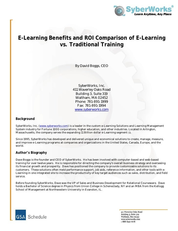 E Learning Benefits And Roi Comparison Of E Learning Versus Traditional Training