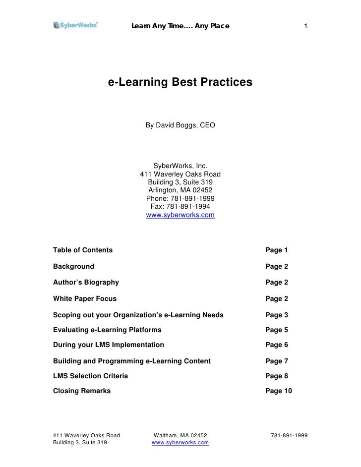 Learn Any Time…. Any Place              1                       e-Learning Best Practices                               By...
