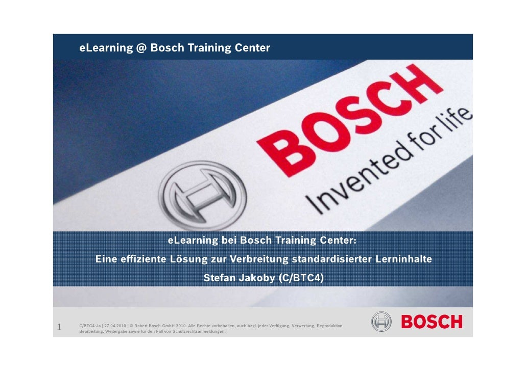 eLearning @ Bosch Training Center                                                    eLearning bei Bosch Training Center: ...