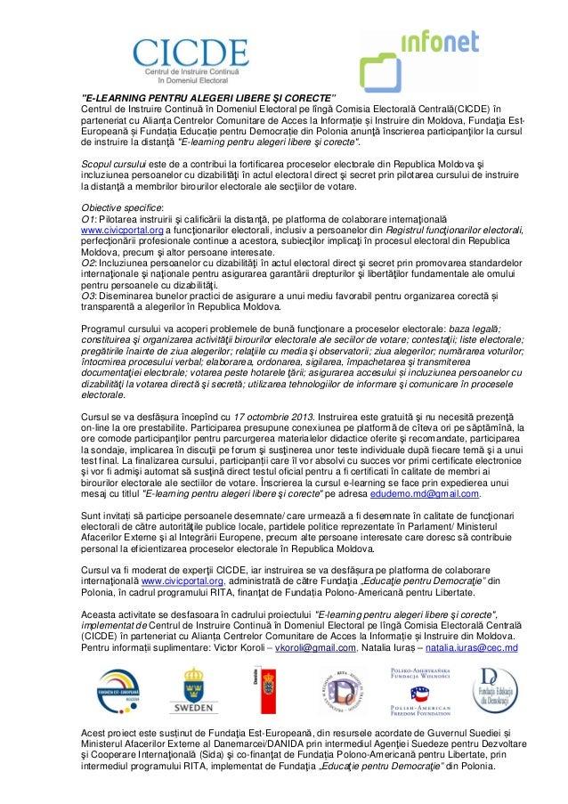 """""""E-LEARNING PENTRU ALEGERI LIBERE ŞI CORECTE"""" Centrul de Instruire Continuă în Domeniul Electoral pe lîngă Comisia Elector..."""