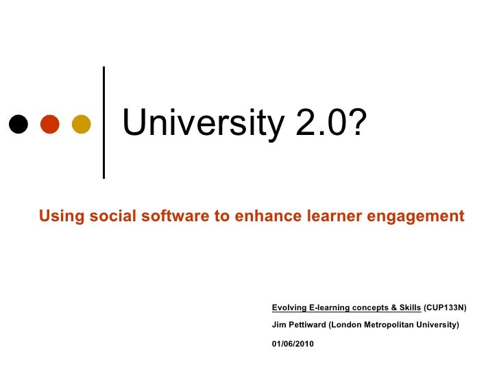University 2.0? Using social software to enhance learner engagement