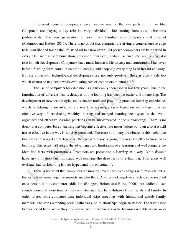E-learning Essay Sample