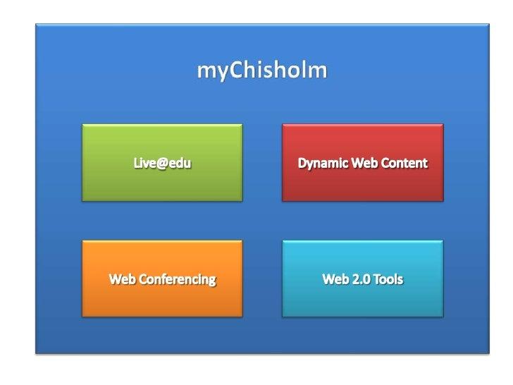 myChisholm<br />Dynamic Web Content<br />Live@edu<br />Web 2.0 Tools<br />Web Conferencing<br />