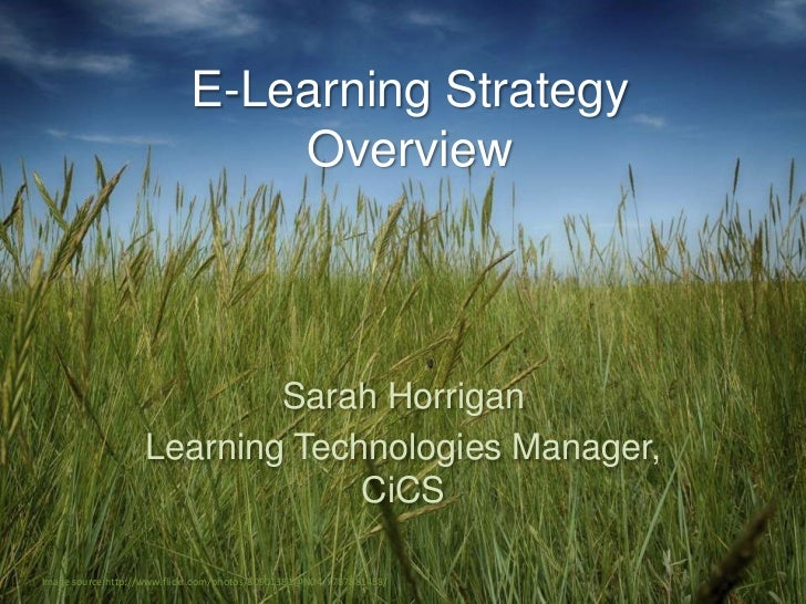 E-Learning Strategy                                Overview                           Sarah Horrigan                   Lea...