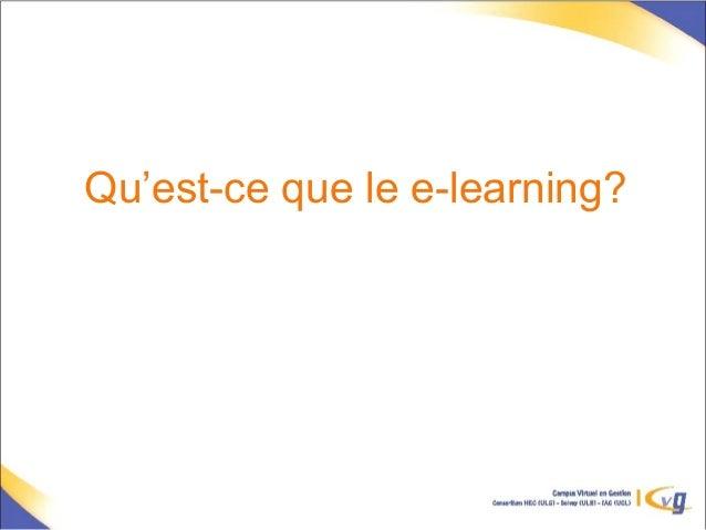 Qu'est-ce que le e-learning?