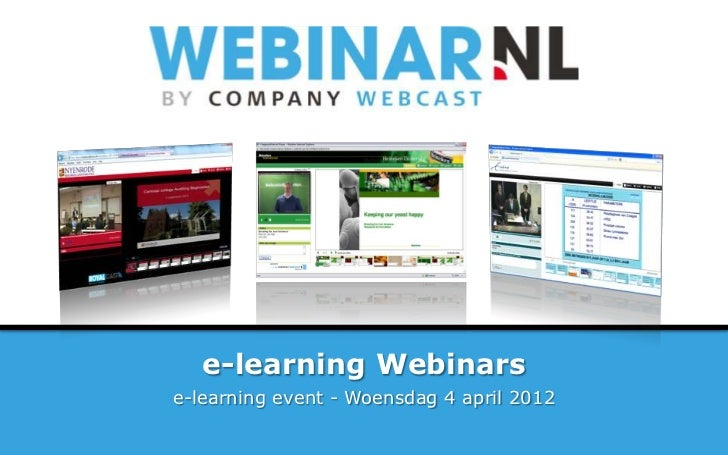 e-learning Webinarse-learning event - Woensdag 4 april 2012