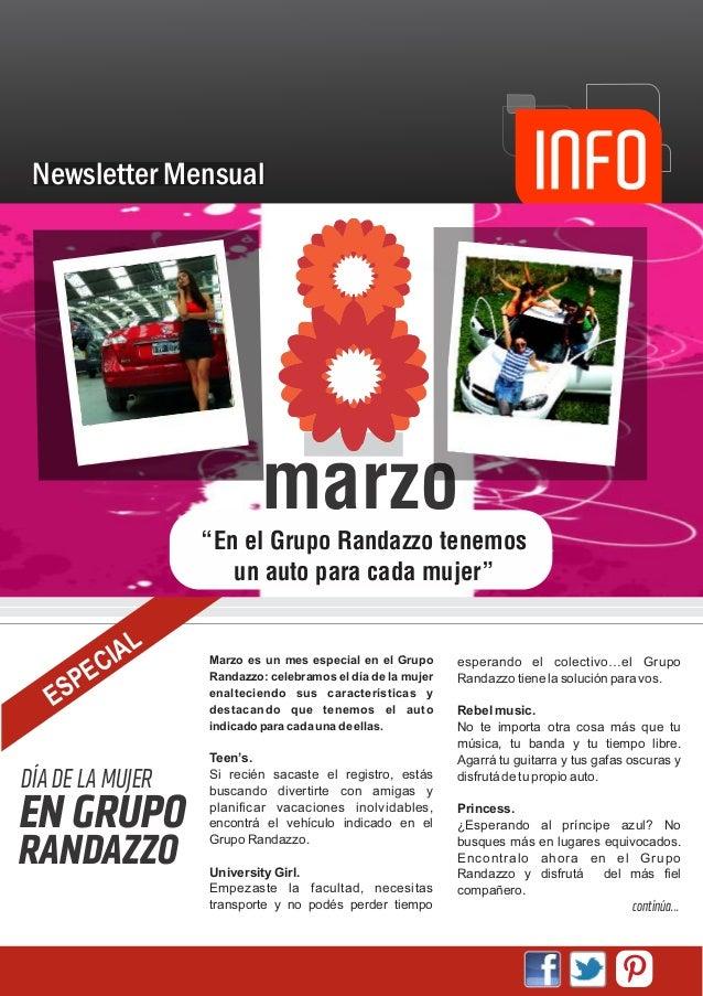 """Newsletter Mensual                          marzo                  """"En el Grupo Randazzo tenemos                     un au..."""