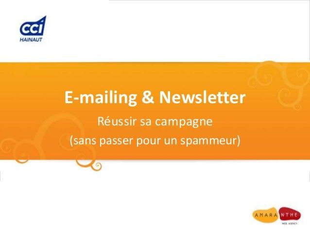 E-mailing & Newsletter    Réussir sa campagne(sans passer pour un spammeur)