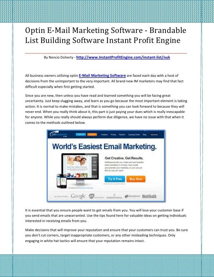 Optin E-Mail Marketing Software - BrandableList Building Software Instant Profit Engine___________________________________...